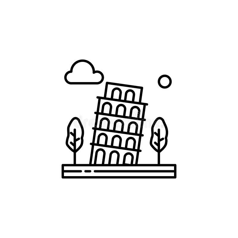 Башня Пизы, деревья, история, значок плана облака Элемент иллюстрации ландшафтов Знаки и символы конспектируют значок можно испол иллюстрация штока