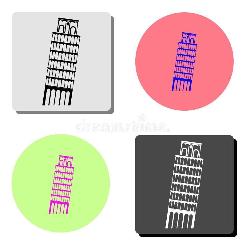 Башня Пизы Плоский значок иллюстрация штока
