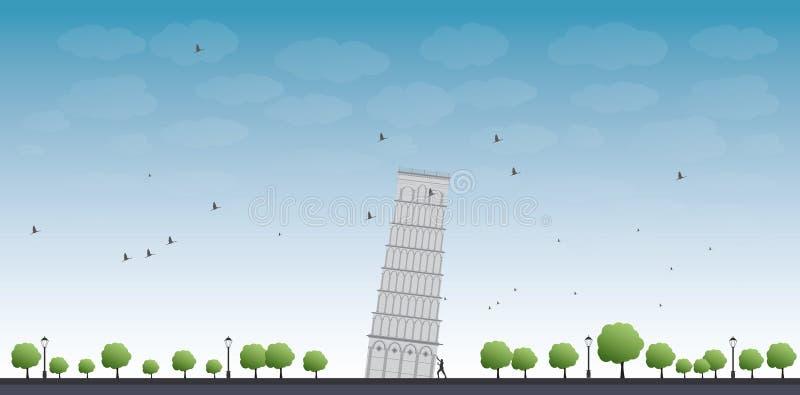 Башня Пизы с голубым небом и туристом бесплатная иллюстрация