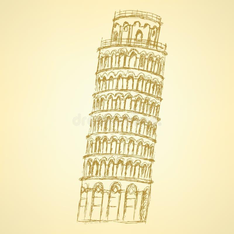 Башня Пизы эскиза, предпосылка года сбора винограда вектора бесплатная иллюстрация