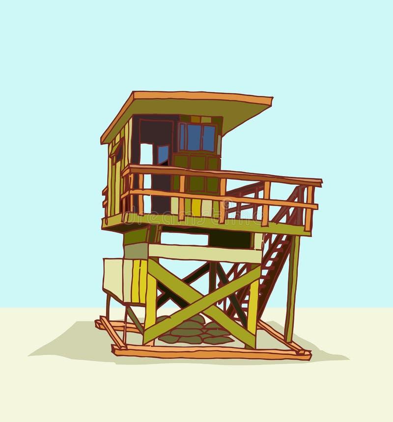 Башня предохранителя пляжа иллюстрация штока