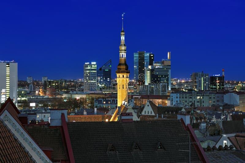 Башня ратуши Таллина на предпосылке Таллина городской в вечере стоковые изображения