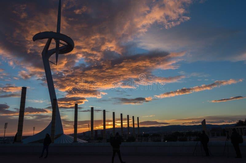 Башня связей Montjuic стоковые изображения rf