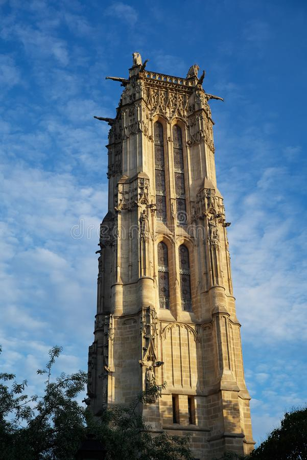 Башня Святого Jacques путешествия St James, Парижа, Франции стоковые изображения rf