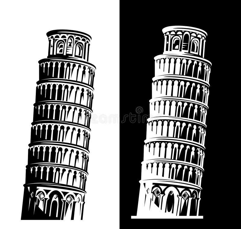 Башня склонности набора дизайна вектора Пизы черно-белого иллюстрация штока