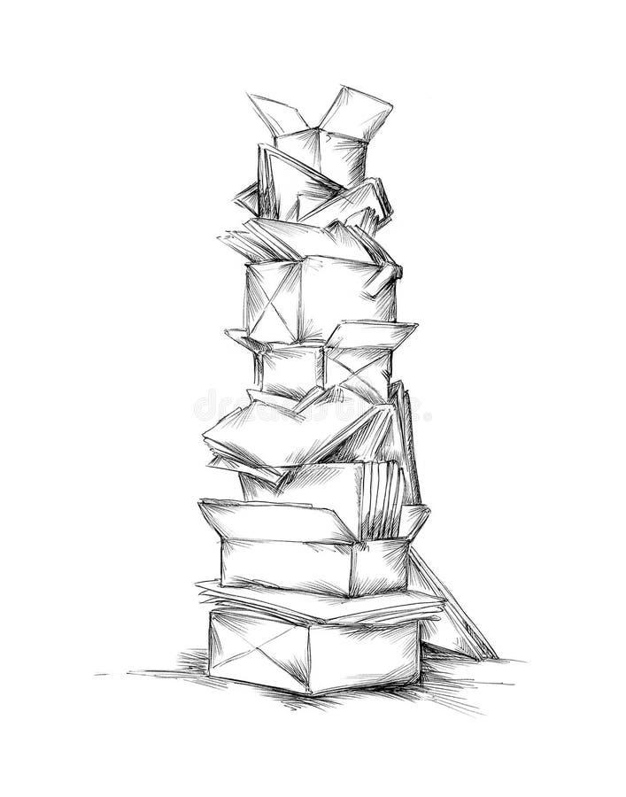 Башня старой бумаги бесплатная иллюстрация