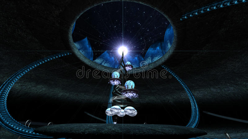 Башня сцены Sci fi в пещере Фантазия 3d представляет иллюстрацию иллюстрация штока