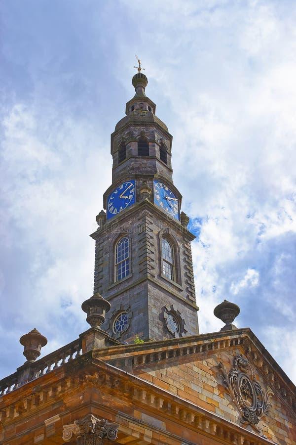 Башня с часами бывшей церков St Andrew в Глазго стоковая фотография