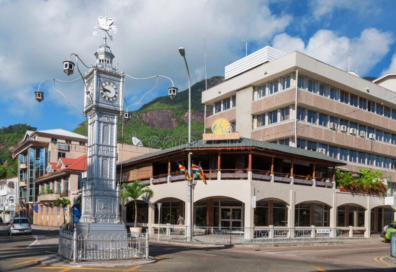 Башня с часами в Виктории, Mahe, Сейшельских островах стоковое фото