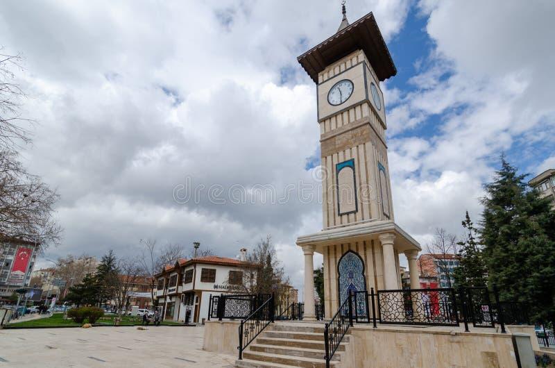 Башня с часами в Kutahya/Турции стоковое изображение