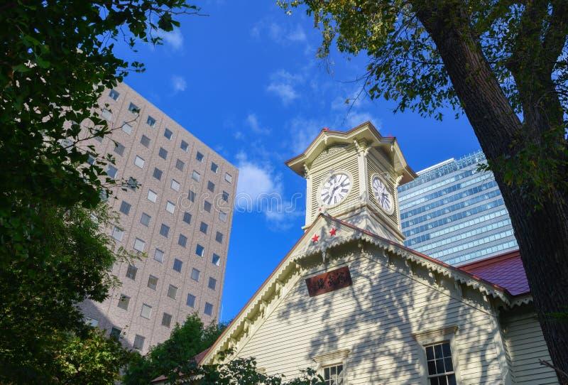 Башня с часами/город Хоккаидо Саппоро, Япония стоковые изображения rf