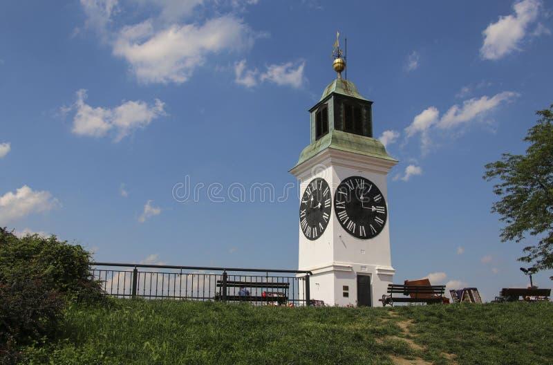 Башня с часами на крепости Petrovaradin, Novi грустное, Сербия стоковое изображение rf