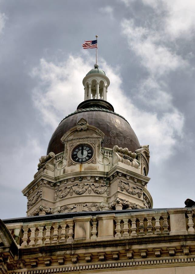 Башня с часами на Evansville стоковые изображения