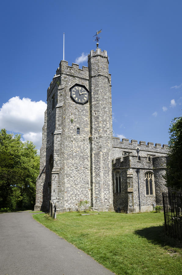 Башня с часами церков Chilham стоковая фотография