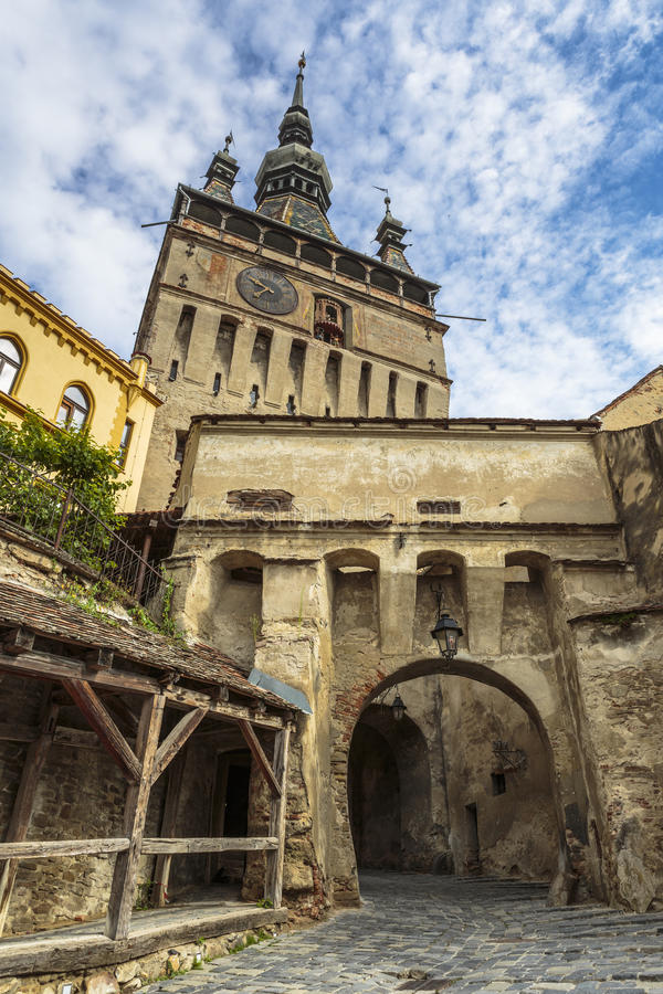 Башня с часами цитадели Sighisoara, Румынии стоковая фотография