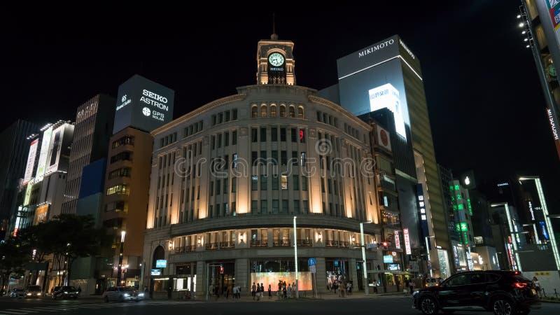 Башня с часами Ginza Seiko, район в Токио, Япония Ginza стоковые фотографии rf