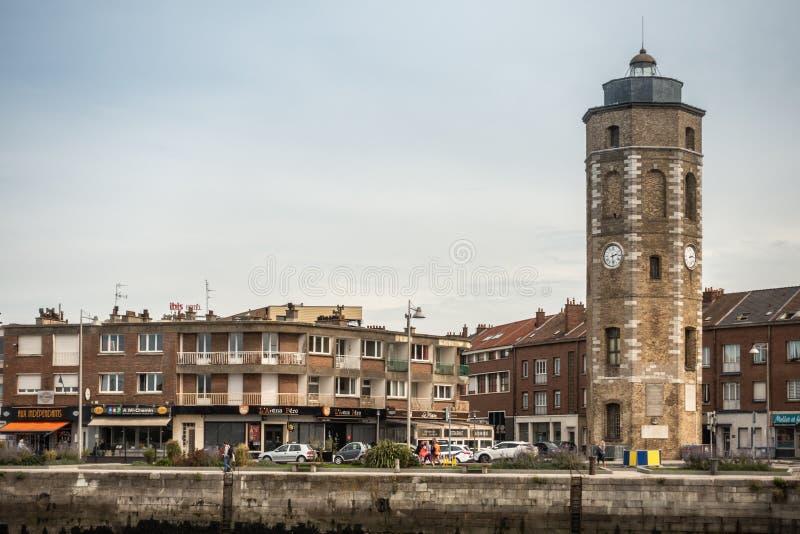 Башня с часами Leughenaer в Дюнкерке, Франции стоковое фото rf