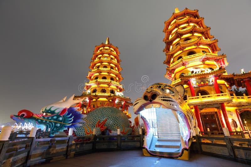 Башня тигра дракона на ноче в Тайване стоковое фото rf