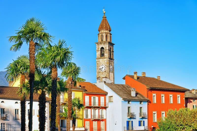 Башня церков и старая архитектура Ascona Тичино Швейцарии стоковое изображение rf