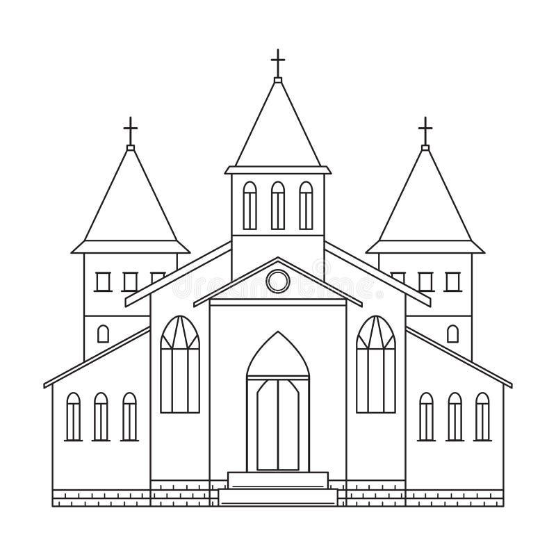башня церков собора здания Линия стиль искусства иллюстрация штока