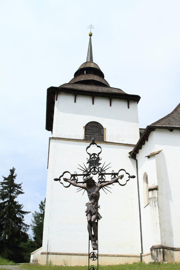 Башня церков с тягчайшим крестом стоковые изображения rf