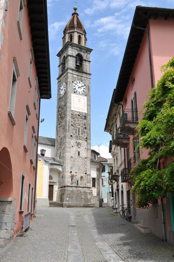 Башня церков Ascona старая где джазовый фестиваль Ascona случается стоковое фото