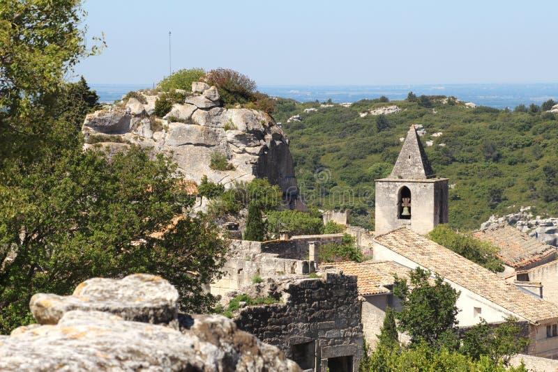 Башня церков Les Baux-de-Провансали, Франции стоковое фото rf