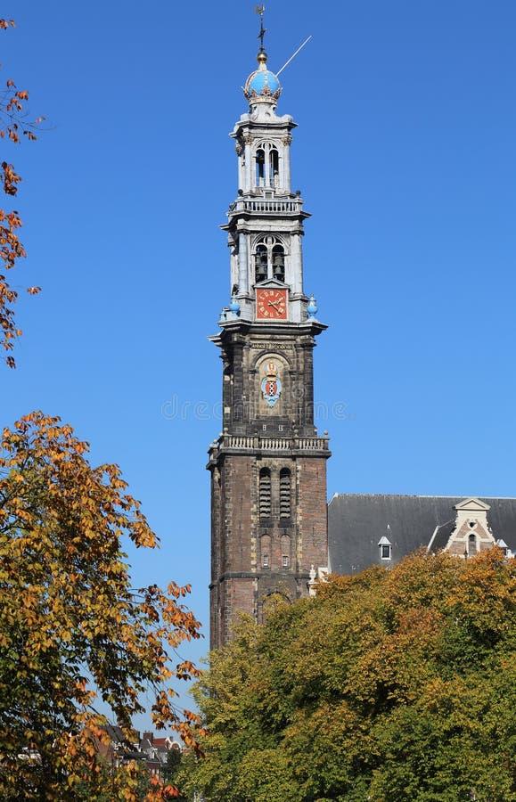 Башня церков Westerkerk в Амстердаме, Голландии стоковое изображение
