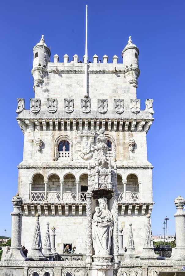 башня belem Старая защитительная крепость в Лиссабоне стоковое изображение
