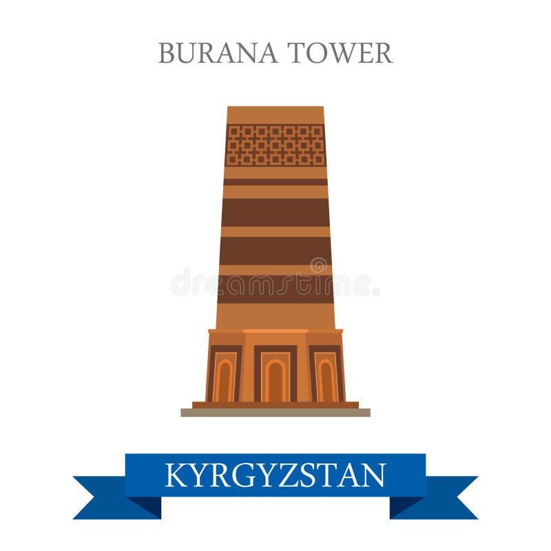 Башня Burana в ориентир ориентирах привлекательности вектора Кыргызстана плоских бесплатная иллюстрация