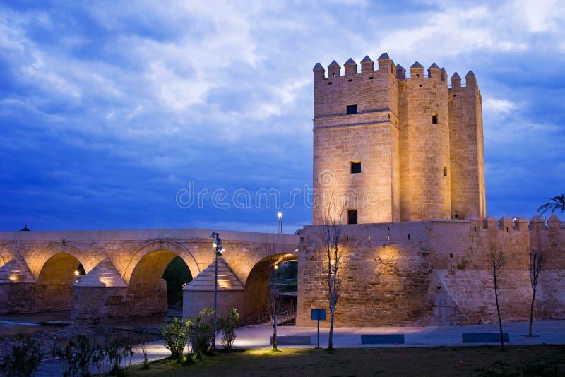 Башня Calahorra и римский мост в Cordoba стоковое фото rf