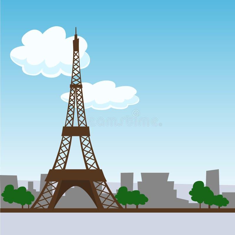 башня eiffel paris иллюстрация вектора