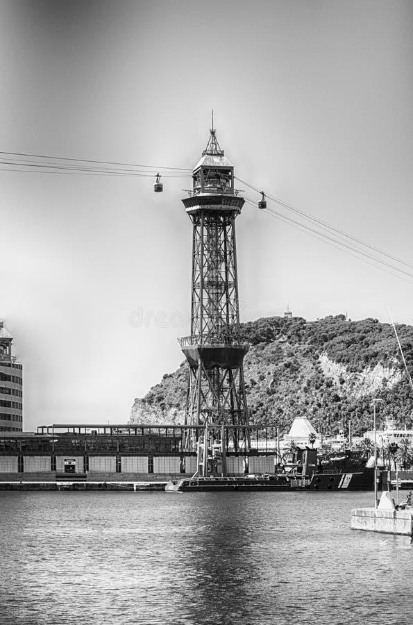 Башня Jaume i, порт Vell Барселоны, Каталонии, Испании стоковые фотографии rf