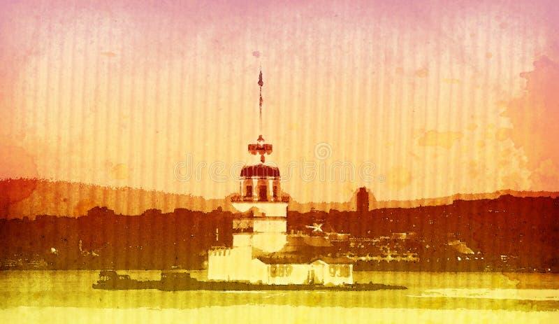 башня kiz istanbul иллюстрация штока