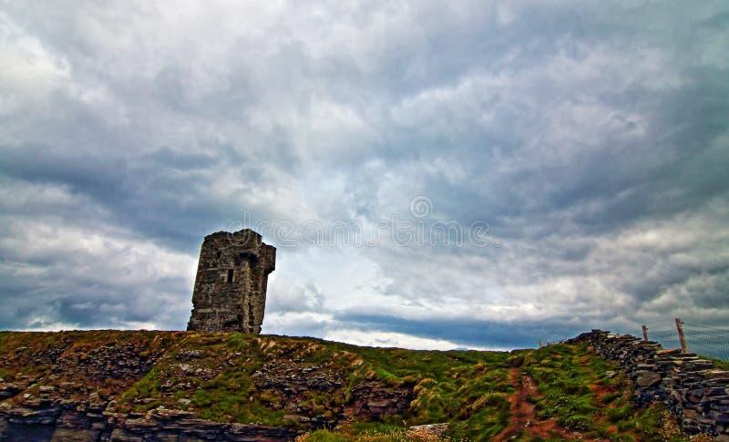 Башня Moher - каменная загородка вдоль дороги водя к башне Moher стоковая фотография