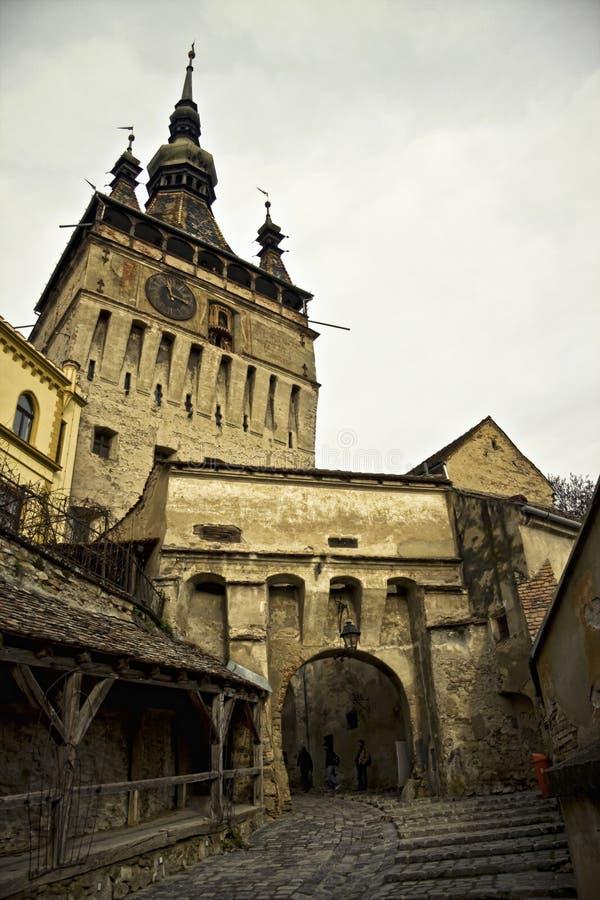 башня sighisoara Румынии часов стоковые фотографии rf