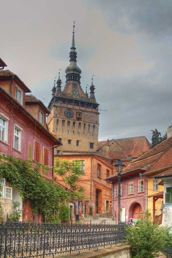 башня sighisoara Румынии часов стоковая фотография