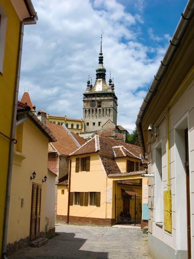 башня sighisoara часов стоковое изображение