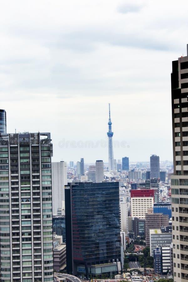 Башня skytree Токио в Японии с дорогой и зданием стоковое изображение rf