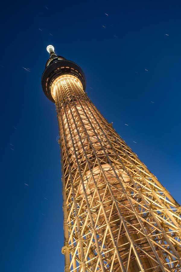 Башня Skytree токио снизу, низкая угловая съемка на голубом часе Самая высокорослая структура в Японии стоковое изображение