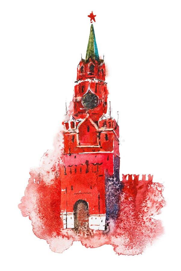 башня spasskaya kremlin moscow России Красная площадь России иллюстрация вектора