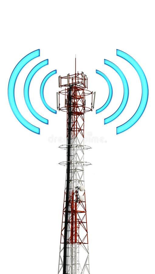 Башня Telecomunication с графическим сигналом иллюстрация вектора