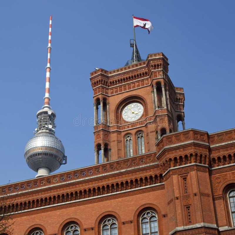 башня tv rathaus berlin стоковая фотография