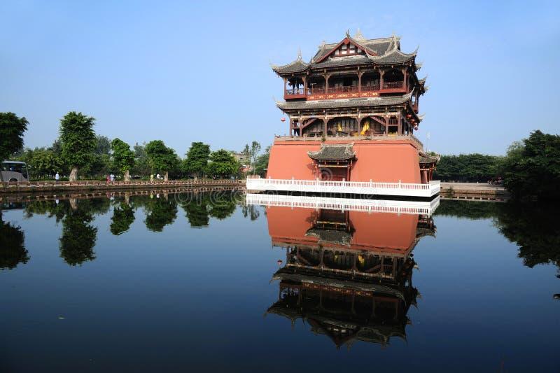 Башня Wufeng в городке Luodai стародедовском стоковые фотографии rf