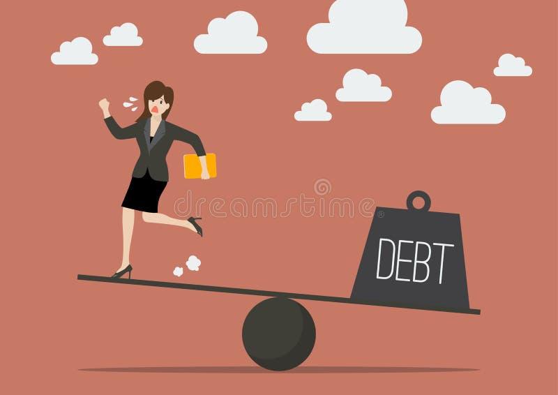 Балансировать между бизнес-леди и задолженностью иллюстрация штока