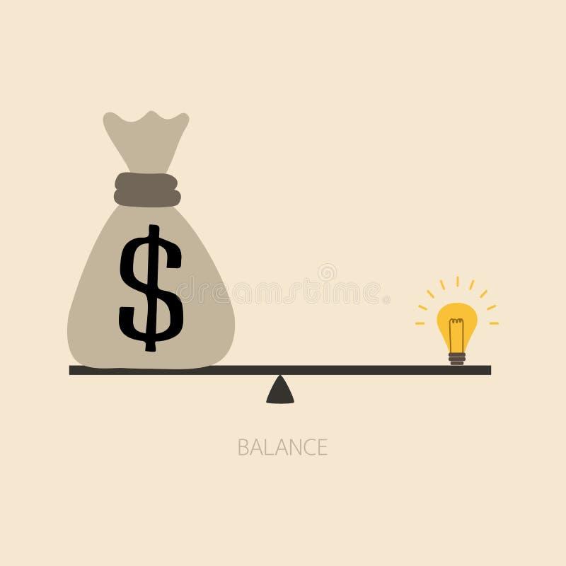 Балансировать между деньгами и идеей бесплатная иллюстрация