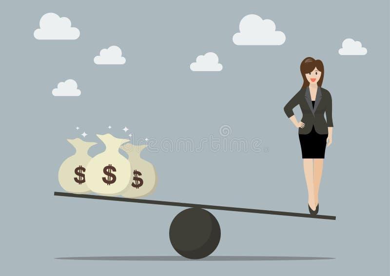 Балансировать между работой и деньгами иллюстрация штока