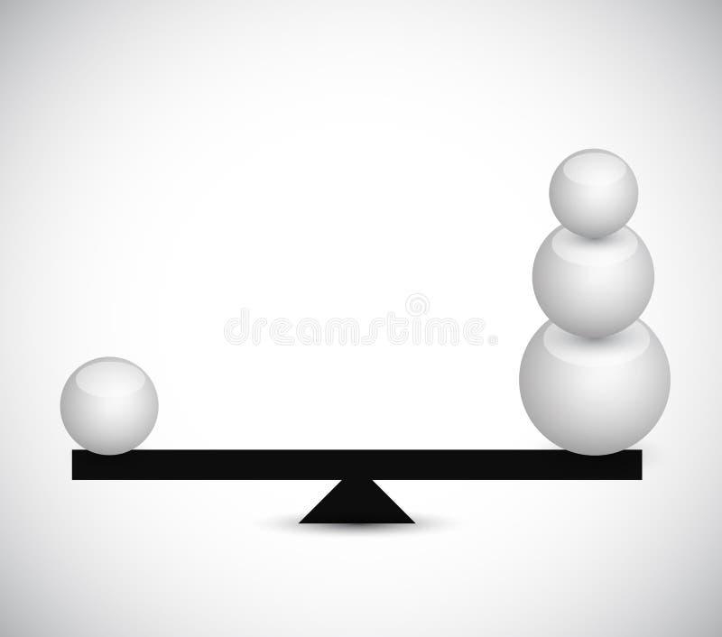 Балансируя сферы. дизайн иллюстрации иллюстрация вектора