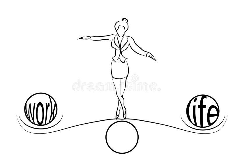 Баланс женщины жизни иллюстрация вектора