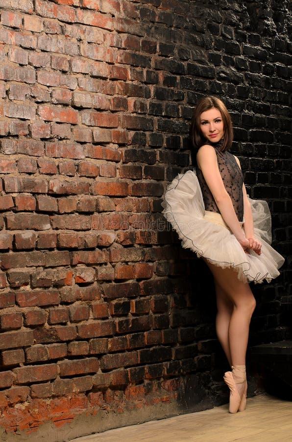 Балерина в балетной пачке около кирпичной стены стоковые изображения rf